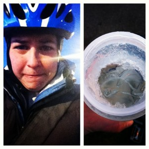 Modern midwife's bike commute comes complete with less fashion, and frozen water bottles.